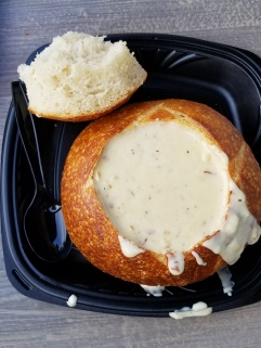 The soup from Bourdin Bakery in a sour dough bread bowl is a must for me.