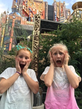 audrey and ava in front of the guardians of the galaxie ride