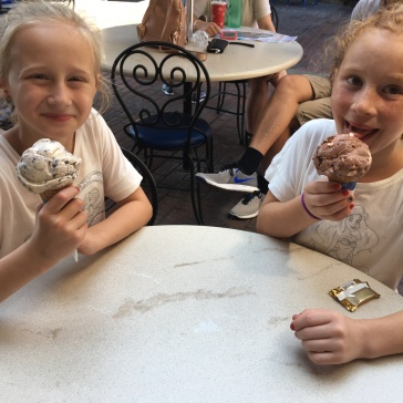 ava and audrey eating ghiradelli ice cream